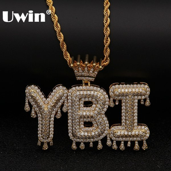 Uwin Crown Initial Letter Pendant Necklace Customzie Bubble Initial Letters Gold Silver Rose Gold Color Words Name Oem Link J190620