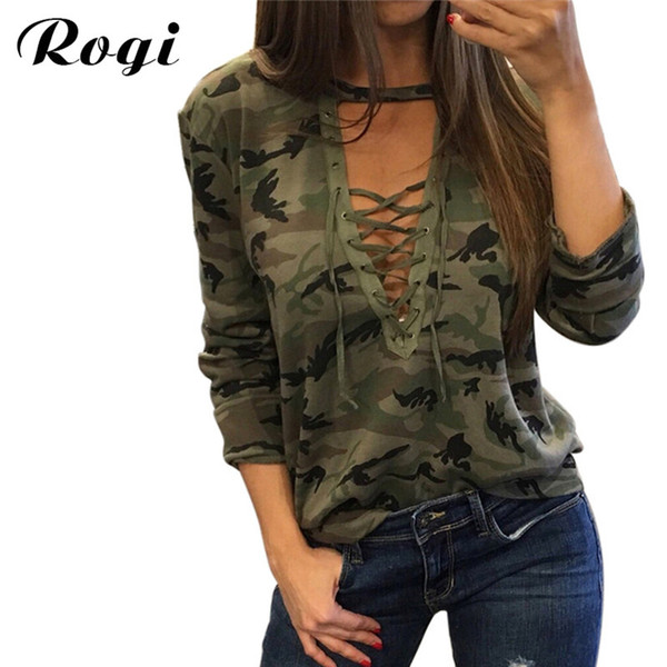 Rogi Women Camouflage Print T-Shirts 2017 Sexy Lace Up Bandage Tee Shirt Femme Casual Party Shirt Tops Blusas Camisetas Mujer