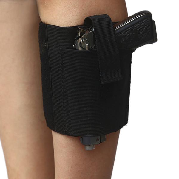 Oculto Outdoor Universal táticos ajustáveis Carry Tornozelo Perna Pistol Gun Holster engrenagem acolchoados Correia Gun bolsas de telefone Define Leg Sleeve