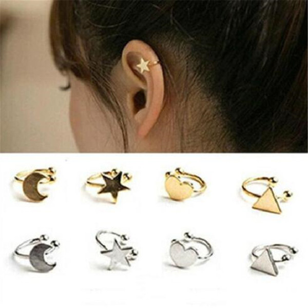 Olaru Fashion Jewelry Satr Moon Heart triangle Cut Leaf Clip Earrings Woman New statement Earcuff Ear earing trendy Brincos Hot