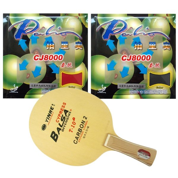 Galaxy YINHE T-10+ Table Tennis Blade With 2x Palio CJ8000 (40-42 Degrees) Rubber With SpongeShakehand long handle FL