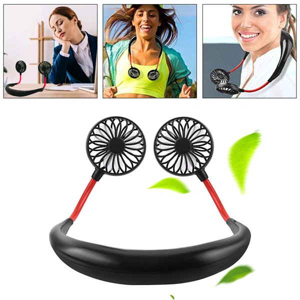 Nouveau Mini Lazy Hanging Neck Fan Portable Sports de plein air mignons Climatisation Ventilateur de refroidissement pour USB Rechargeable Voyage Cadeau D'été