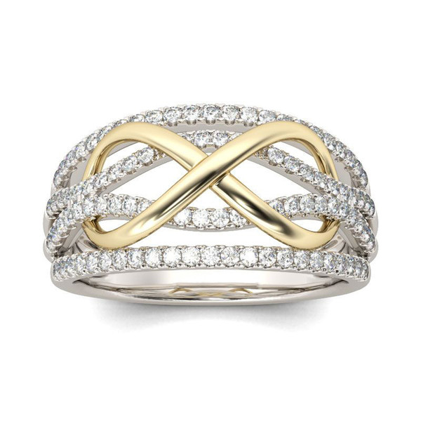 Crystal Gold Infinity Ring Contrast Color Diamond rings Fashion Engagement Wedding Rings Fashion Jewelry gift fot Women A0493