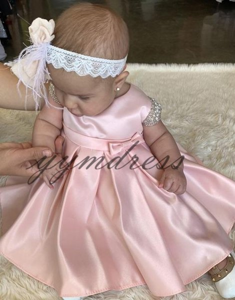 Pink Satin Flower Girl Dresses Ruffle Short Sleeve Formal Kids Party Birthday Communion Dress Toddler Pageant Gowns
