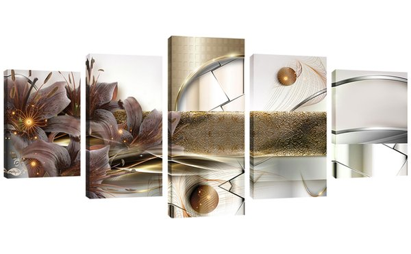 Sans cadre 5 Pièces Pourpre Lily Toile Mur Art Fleur Photo impressions sur Toile Peinture Œuvres pour Salon Chambre Chambre Décor À La Maison Cadeaux