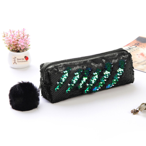 Women Makeup Cosmetic Bag Glitter Sequin Zipper Hairball Pencil Case Storage Shiny Pen Organizer 3Colors