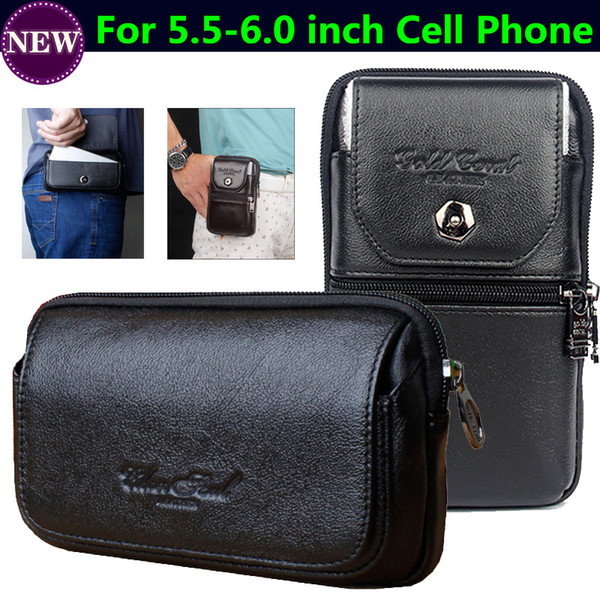 Genuine Leather zipper pouch Belt Clip Waist Purse Cross Case Cover for OUKITEL C12 Pro, For OUKITEL WP2 Vertical Cellphone Bags