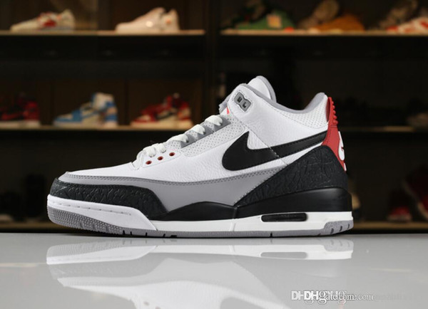 promo code c415f b4771 178 Aair 1 JORDAN 3 3s Men Men Basketball Shoes Tinker Korea JTH Pure White  Black Cement Flight Sport Sneakers AIR Coiffures Loose Chignon From ...