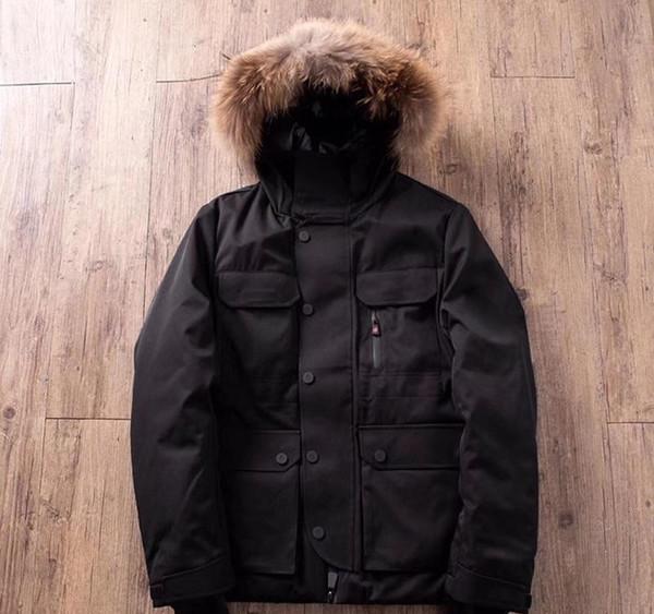 Manteau Jackets Rolling Stone vers le bas à capuchon Couple Casual poches Blanc Noir tirettes Mode vêtement d'hiver chaud épais zdl112916