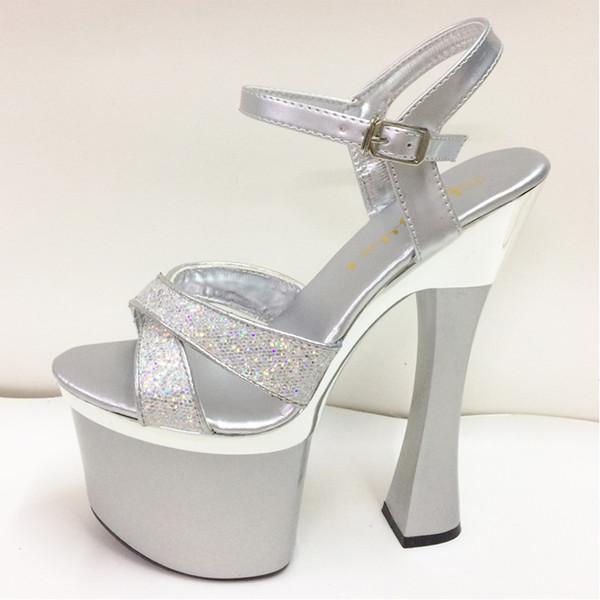 Sandals Women Shoes Silver Wedding Sandals Bride Sequined High Heels 18CM Platform Women Sandals Sexy Peep Toe Ladies Shoes Pump