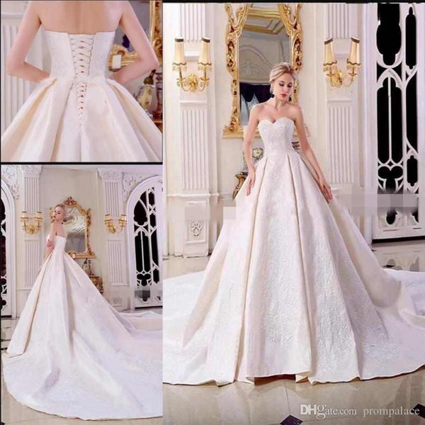 China Supplier High Quality Wedding Dresses Sweetheart Neck Lace Appliques Women Bridal Gowns With Lace Up