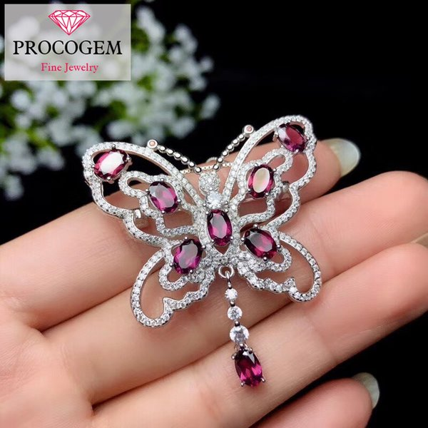 Excellent Natural Pyrope garnet Butterfly Brooches for Women Anniversary Genuine gemstones fine Jewelry 925 Sterling Silver #341