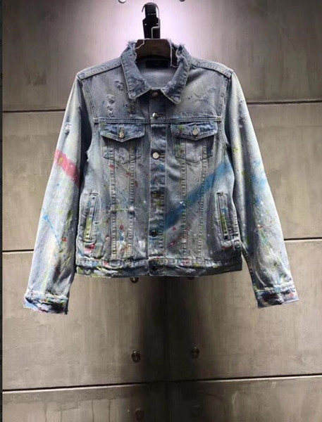2019 Fashion NEW Denim Jacket Mens Womans Jacket Fluorescence Doodling Denim Coat Ripped Denim S Streetwear Spring Summer S XL Cool Jackets Men Cool