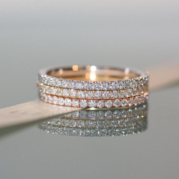Promoção Fashion4U99 multa 100% 925 sterling prata clássico delicado 3 cores empilháveis eternidade cz anel pedra completa conjuntos de banda S18101608