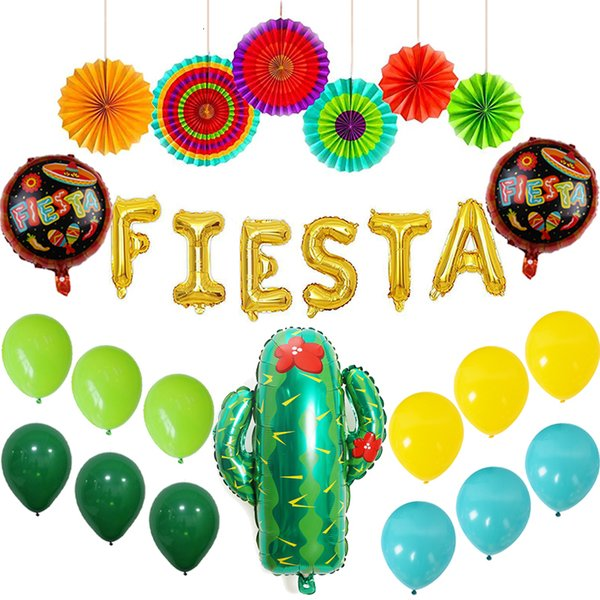 2019 Fiesta Party Decorations Mexican Party Fiestas Supplies Colorful Paper Fans Gold Fiesta Balloon Banner Cactus Foil Balloons From Wy Aj 34 24