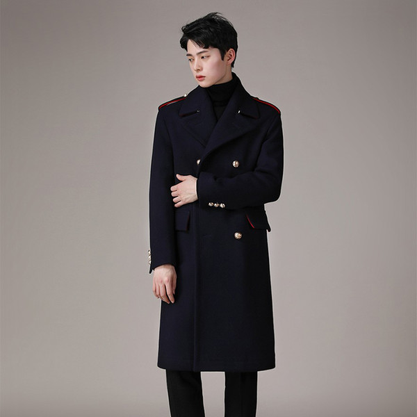 British Men/'s Woolen Long Parka double breasted trench-coat Outwear 2019