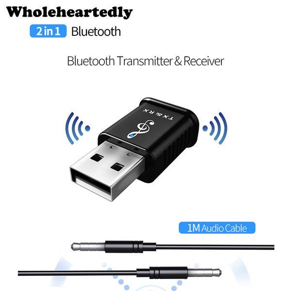 2 en 1 USB Bluetooth 5.0 Transmisor Receptor Mini 3.5mm AUX Adaptador de Audio Estéreo Inalámbrico de Música Para El Altavoz Del Coche TV PC Teléfono