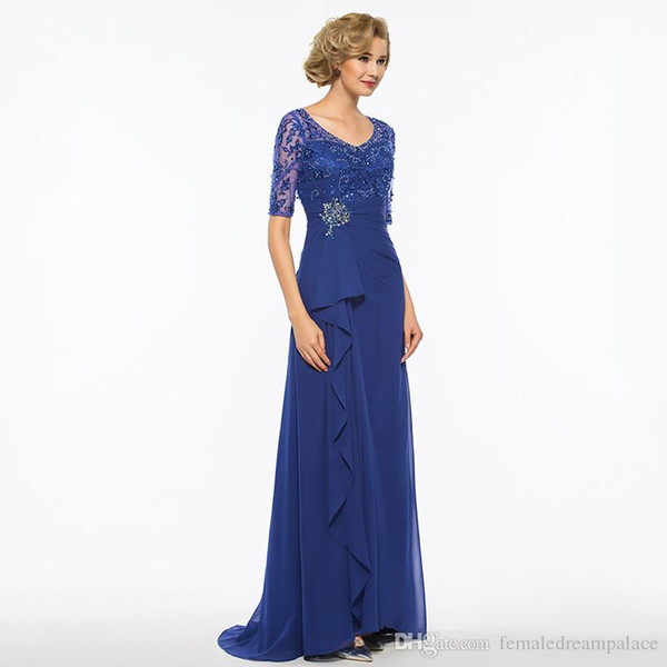 2018 sexy v neck royal blue lace mother of the bride dresses custom sheath 1/2 sleeves plus size beads chiffon mother's dress