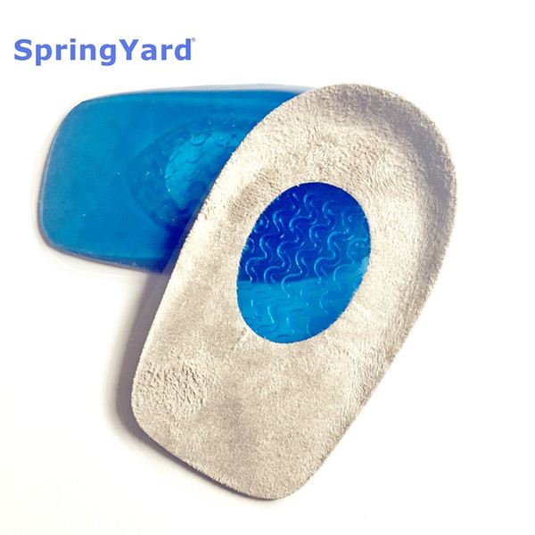 SpringYard (2 pairs/lot) Gel+ Suede Plantar Fasciitis Heel Spur Protector Cushion Pad Shoe Inserts Insole for Shoes Woman Men