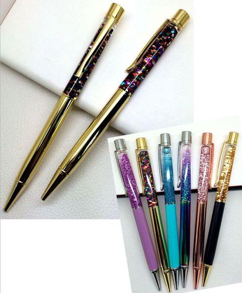 Высококачественный Золотой Порошок В Нефть Кристаллическая Ручка Творческий Кристалл Ручка Подарок Песочные Часы Quick-Sand Ментальная Шариковая Ручка