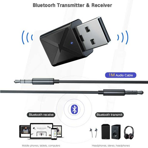 Bluetooth 5.0 Sender Empfänger Mini3.5mm AUX Stereo Bluetooth-Adapter für Auto-Musik-Bluetooth-Transmitter für TV Tools HHA106