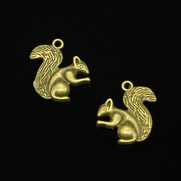 68pcs Charms double sided squirrel Antique Bronze Plated Pendants Fit Jewelry Making Findings Accessories 21*21mm