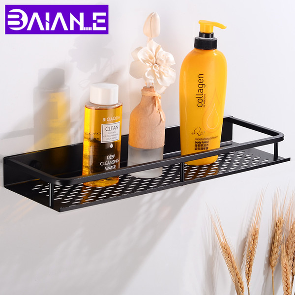 2019 Bathroom Shelf Corner Organizer Aluminum Bathroom Shelves Shower Storage Rack Wall Mounted Corner Basket Shampoo Shelf Black T8190626 From