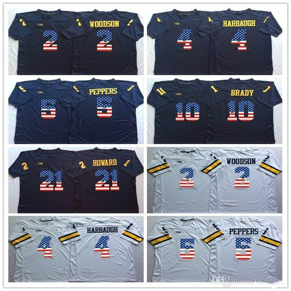 10 Tom Brady 2 Charles Woodson 4 Jim Harbaugh 5 Peppers 21 Howard College Football Jersey Men Flag Michigan Wolverines Blue White Jerseys