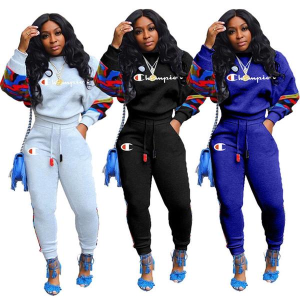 Champions marque femmes lambrissé 2 pièces pantalon pull-over Sweat ensemble Sweatsuit justaucorps vêtements d'extérieur de hoodies leggings vente chaude 2165