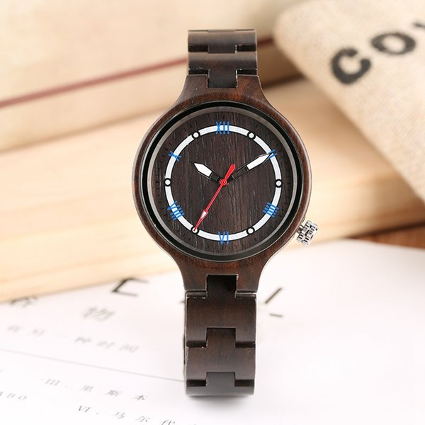 Business Casual Wooden Watches with Hollow Luminous Pointers All Black Wooden Watch Analog Quartz Natural Ebony Wood Watch
