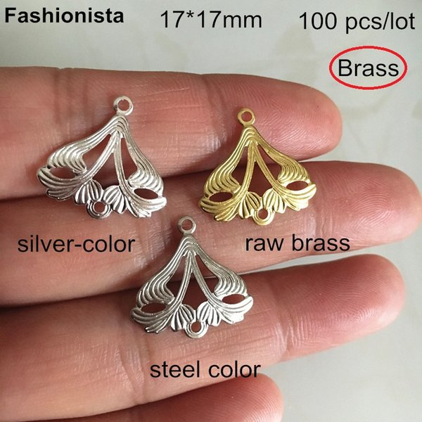 100 pcs Brass Filigree Mask Connectors 17*17mm,Raw Brass,Silver-color,Steel color,Brass Chandelier Charm Connectors For Crafts