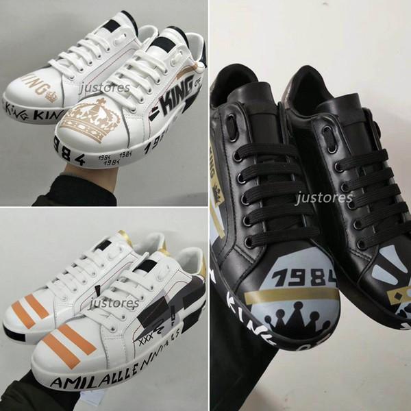 2019 Scarpa di design TOP Fashion Uomo Scarpa King Love Portofino Leather Italian Luxury Shoe Uomo Scarpe casual con scatola