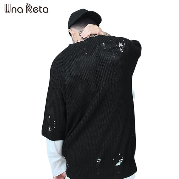 Una Reta Half Sleeve Sweaters Men 2018 New Spring Summer Hip Hop Knitting Pullover Mens Oversize Hole Design Plus Size Sweaters