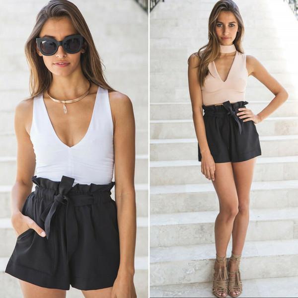 2019 nuevas mujeres pantalones cortos de cintura alta pajarita cinturón pantalones cortos damas verano una línea caliente suelta color sólido corto mujer mujer femenina