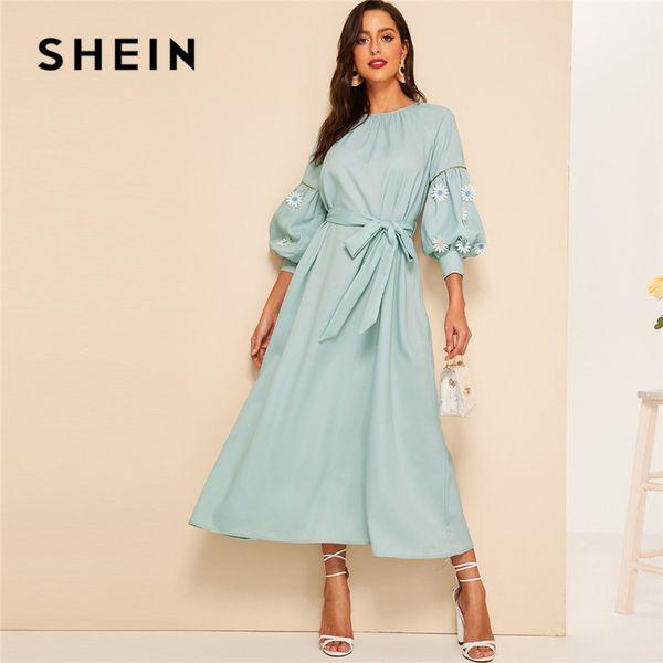 SHEIN Pastel Green Keyhole Back Apliques de encaje con cinturón Hijab Maxi Dress Mujeres Primavera Elegante Cuello Redondo Manga Linterna Vestido Largo