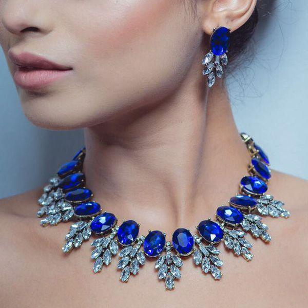 New Maxi Rhinestone Bib Collier Femme Beads Collar Chokers Pendant Statement Necklace for Women Choker Jewelry