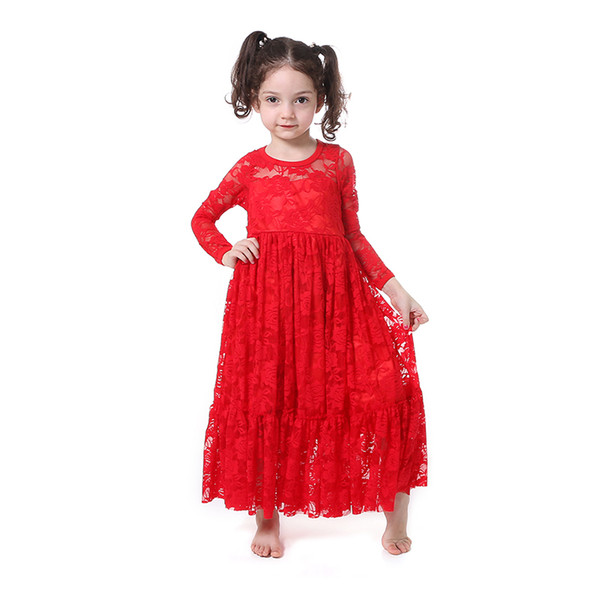 Wholesale Boutique Kids Clothing Baby Girl Lace Long Sleeve Maxi Frocks Design Children Princess Dresses in Wedding Party