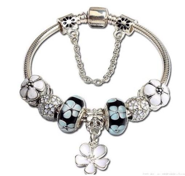 Fashion 925 Sterling Silver Blue Murano Lampwork Glass Cherry blossom European Flower Dangle Charm Stopper Beads Fits Pandora Charm bracelet