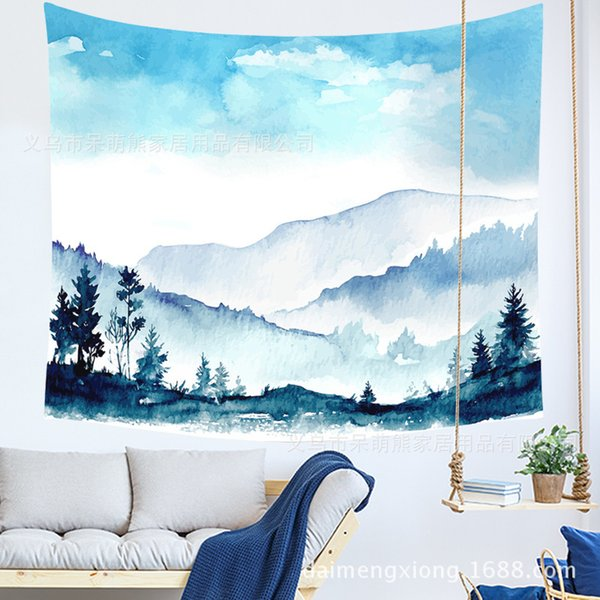 Watercolor Landscape Animal Hanging Cloth Room Dormitory Decoration Painting Tapestry Metope Background Cloth Can A Piece Of