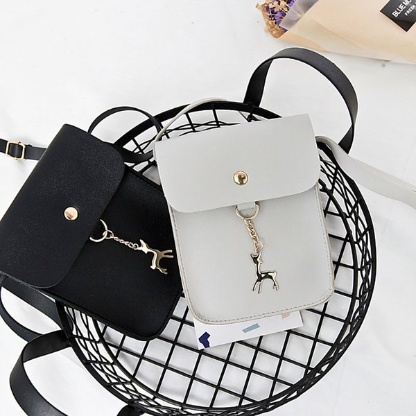 Cheap High Quality Ladies Girls Solid Color Casual Coin Phone Shoulder Bags Women Female Mini Messenger Bag With Deer Toy Handbag FA$3