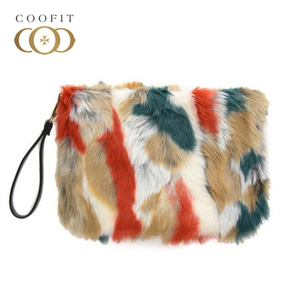 Coofit Upscale Hit Color Pattern Clutch Bag Ladies Hairy Plush Clutch Wallet Faux Fur Crossbody Shoulder Bag For Evening Party #252383