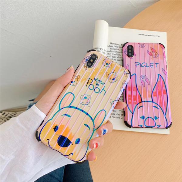 Einteiliger Luxustelefonkasten für iPhone 6S 7 8P X XS Reizende Zeichentrickfilm-Figuren mit rückseitiger Abdeckung des Stammdesigner-Telefonkastens