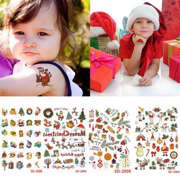 축제 크리스마스 어린이 키즈 TemporaryTatto 스티커 문신 크리스마스 스티커를 전송합니다