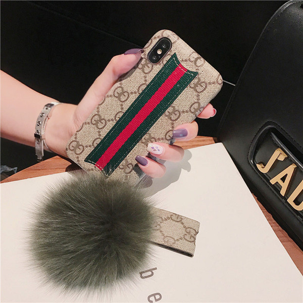 Wholeasale Brand Phone Case Designer Iphone 6/6s 6p/6sp 7/8 7p/8p X/xs/xr/xs Max Fashion Style with Hairball Lanyard Real Cover Protection
