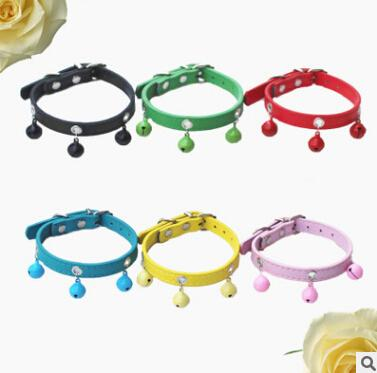 Pet Bell Collar Dog Bell Necklace PU Leather Pet Small Dog Cat Collars Fashion Candy Color Puppy Kitten Teddy Lovely Necklaces