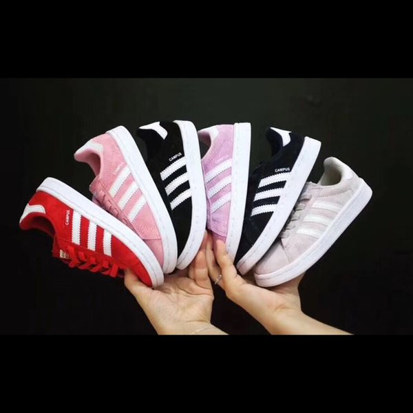 Kids Designer Shoes 2019 New Fashion Striped Shell Casual Sports Shoes Boys and Girls Luxury Sports Shoes 6 Styles Teens Girls Boys 6 Style
