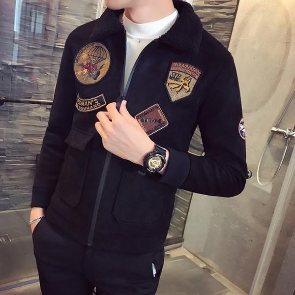 2018 Nuevo abrigo para hombre Cuello de piel Erkek Caqui Invierno Slim Fit Chaqueta de aviador de terciopelo Parka Velvet Mens Chaquetas de piloto Chaquetas para hombre
