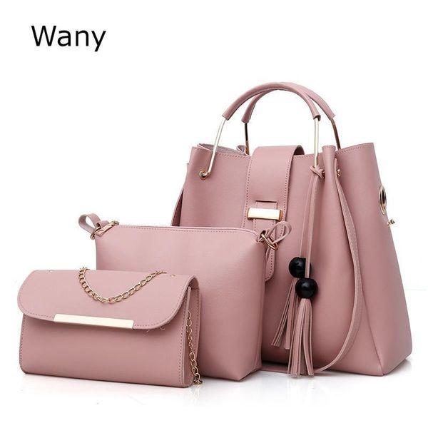 Fashion Womens Shoulder Bags Tote Lady Brand Composite Bag 2 Pcs/set Pu Leather Tassel Handbag Bucket Bag Messenger Bags Wany