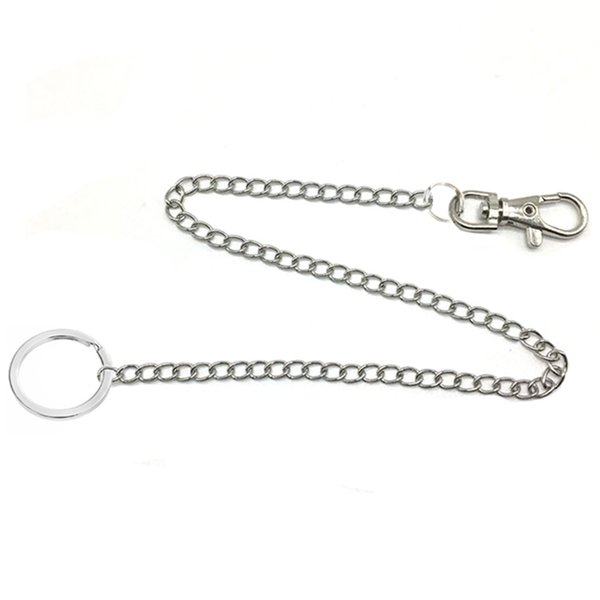 36cm long Metal Wallet Belt Chain Rock Punk Trousers Hipster Pant Jean Keychain Silver Ring Clip Keyring Men's HipHop Jewelry