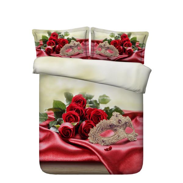 Girls Rose Flowers Duvet Cover Set Floral Bedspread Bed Coverlets Bedding Sets Romantic Wedding Love Bed Set Gift 3pcs Quilt Cover Heart bed